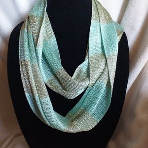 Mint green and metallic gold striped scarf!